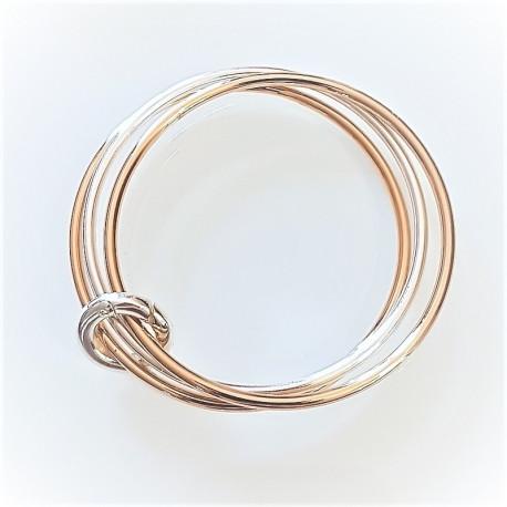 Bracelet argent 3 joncs bicolore